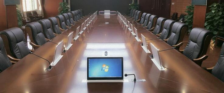 超薄电容屏无纸化液晶升降会议系统简介
